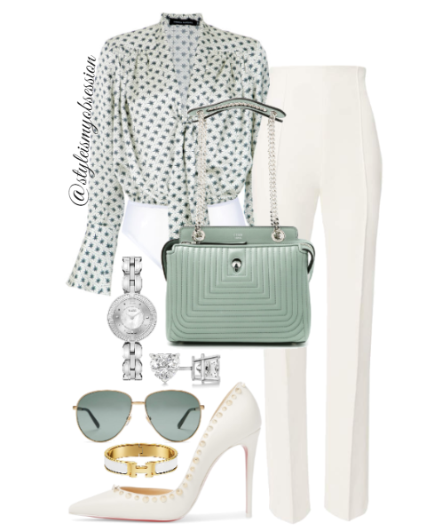 Style Inspiration Business Chic Andrea Marques Printed Bodysuit Maticveski Exalt High Waist Pants Fendi Dotcom Bag Christian Louboutin Irishell Spiked Pump.PNG
