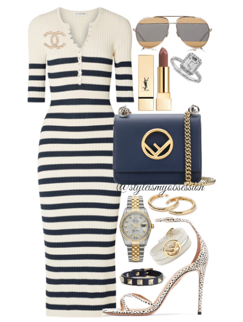 Style Inspiration Sail Away Altuzarra Sunday Navy Striped Dress Aquazzura Purist Polka Dot Sandal Fendi Kan I F Small Shoulder Bag Dior Split Sunglasses.PNG