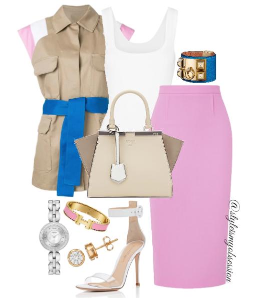 Style Inspiration Paper or Plastic MSGM Belted Waistcoat Roland Mouret Arreton Pink Skirt Gianvito Rossi Portofino Sandal Fendi 3Jours Bag.PNG