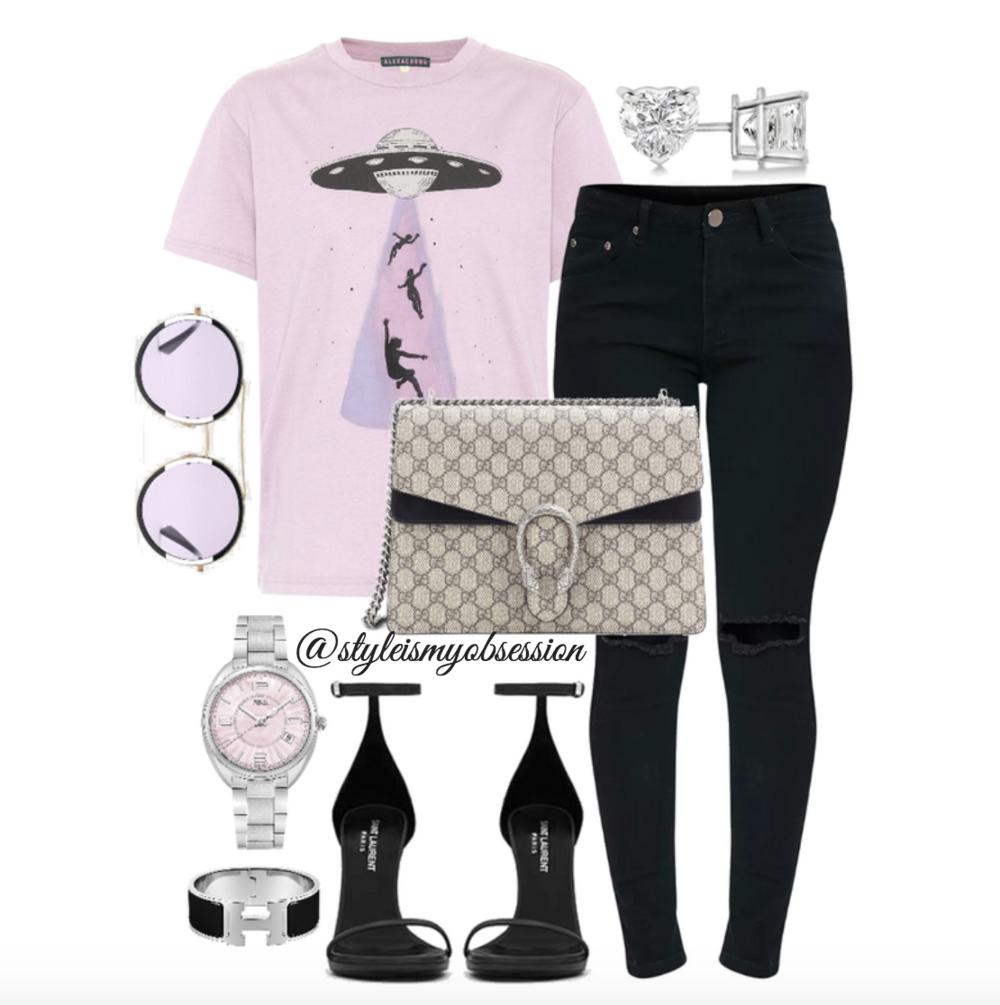 Style Inspiration Alien Invasion Alexa Chung Print T-Shirt Gucci Dionysus Bag Saint Laurent Jane Sandal.png