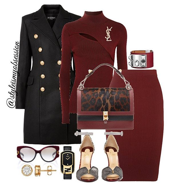 Glass of Merlot  Raising a glass to Friday! Click the 🔗 in our bio for full outfit details, including shopping links and Look For Less options.  #style #fashion #instastyle #instafashion #styleismyobsession #styleinspiration #lotd #StylePost #FallFashion #Fall2018 #Balmain #Louboutin #Fendi #Vince #Mugler #Hermes #Prada #SaintLaurent