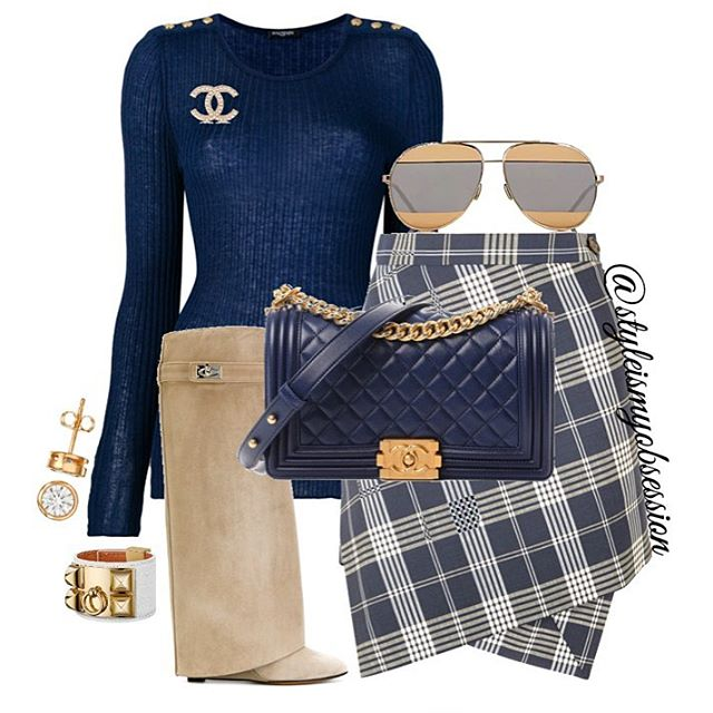 Wedged  Adding a little tartan style to your casual Friday look. Click the 🔗 in our bio for full outfit details, including shopping links and Look For Less options.  #style #fashion #instastyle #instafashion #styleismyobsession #styleinspiration #StylePost #FallFashion #FallTrends #VivienneWestwood #Givenchy #Chanel #Dior #Balmain #Hermes