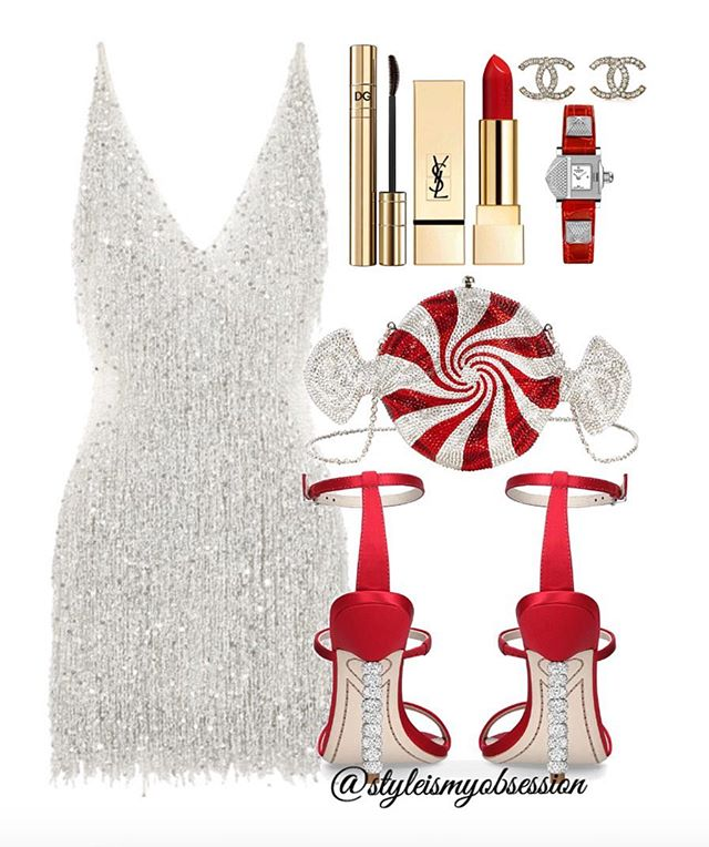 "Candy Cane  Spreading a little holiday cheer with today's shimmering mini ensemble. If you need some ideas on how to ""sleigh"" this holiday season, click the 🔗 in our bio for full outfit details, including shopping links and Look For Less options.  #style #fashion #instastyle #instafashion #styleismyobsession #styleinspiration #ootd #StylePost #Holidays #HolidayFashion #Christmas #NaeemKhan  #SophiaWebster #JudithLeiber #Chanel #Hermes #YSLBeauty"
