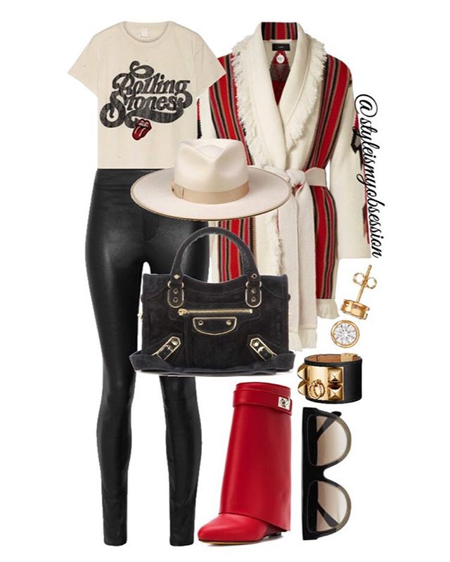 Western Rock  Add a little western feel to your casual Friday and weekend wardrobe. Click the 🔗 in our bio for full outfit details, including shopping links and Look For Less options.  #style #fashion #instastyle #instafashion #styleismyobsession #styleinspiration #lotd #StylePost #Trends #Alanui  #Givenchy #LackOfColor #Balenciaga #Celine #HelmutLang #Madeworn