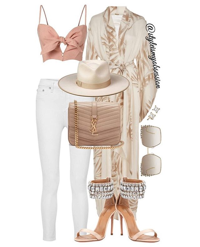 Sandy  In spring break mode with today's kimono inspired outfit idea. Click the 🔗 in our bio for full outfit details, including shopping links and Look For Less options.  #style #fashion #instastyle #instafashion #styleismyobsession #styleinspiration #StylePost #JohannaOrtiz #SaintLaurent #Aquazzura #Fendi #LackOfColor #SpringBreak #Vacation