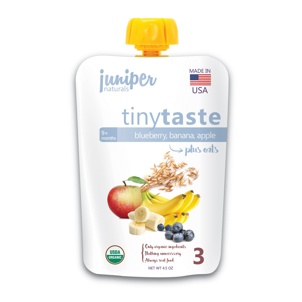 Juniper Naturals blueberry, banana, apple oat puree