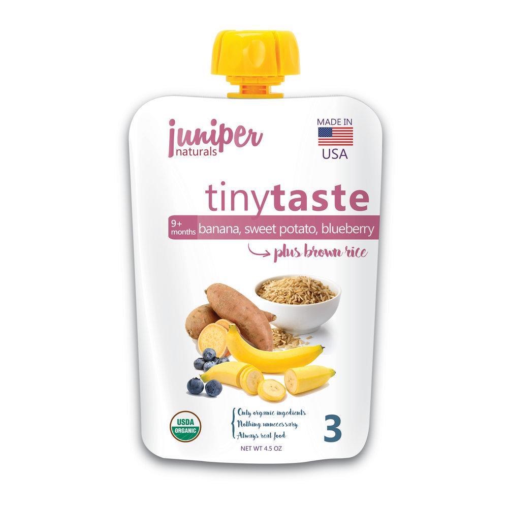 Juniper Naturals banana, sweet potato, blueberry brown rice puree