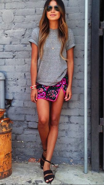 Sincerely-Jules-Gray-Shirt-Patterned-Skirt-Fall-Summer-Style