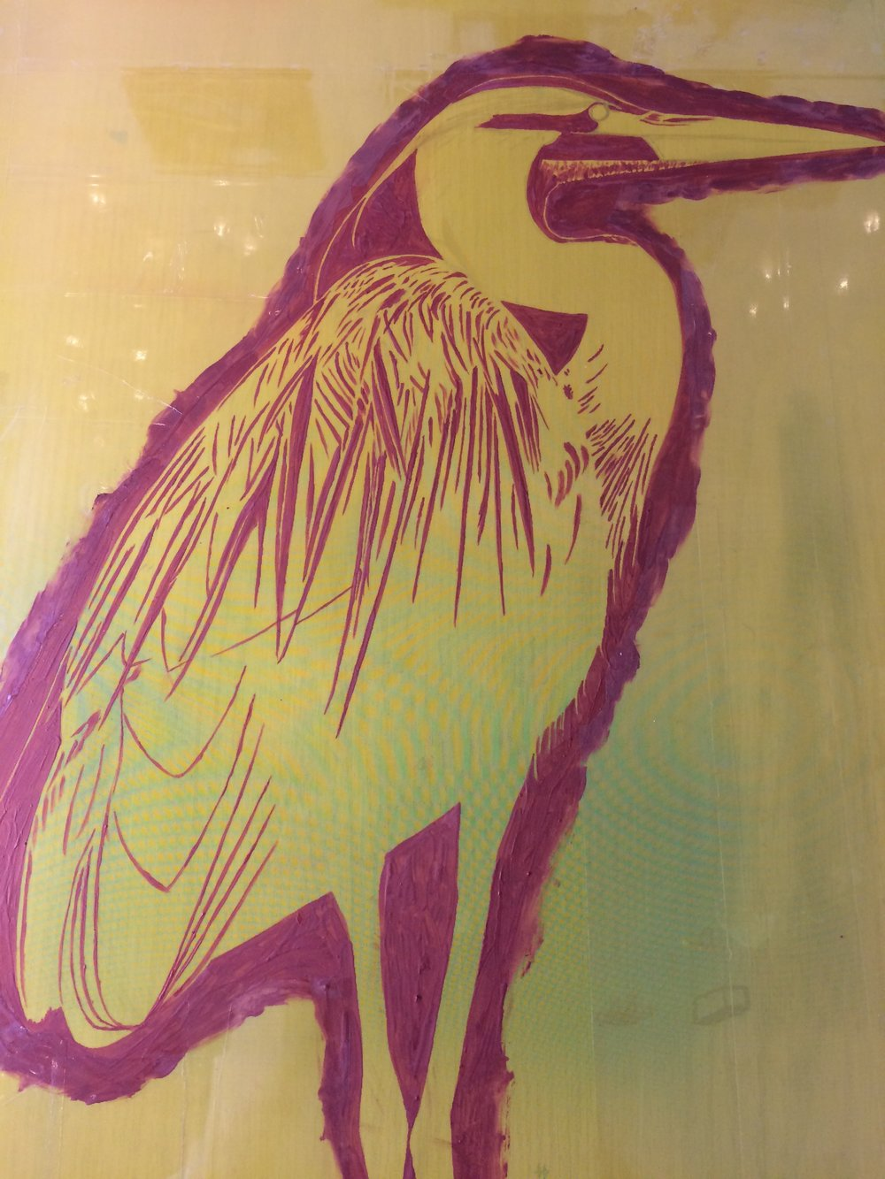 "The ""stencil"" image of the Great Blue Heron on a screen."
