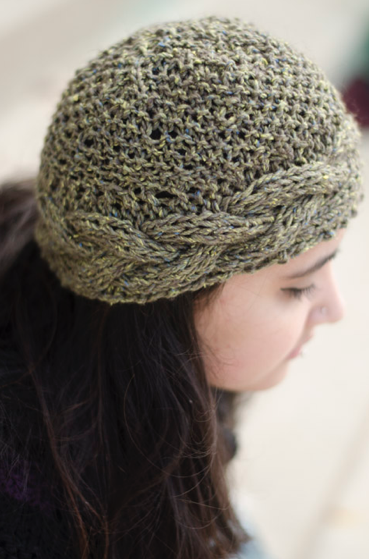 Cabled wool,cotton tweed beanie