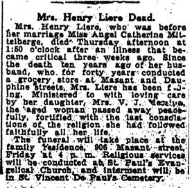 July 12, 1918. Obituary for Angel Liere, 906 Mazant.