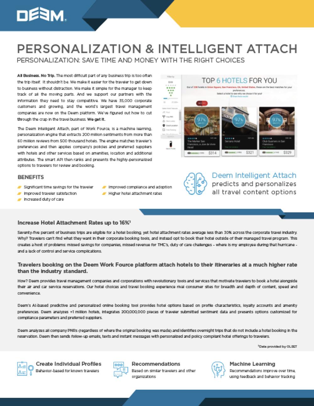 Personalization and Intelligent Attach -