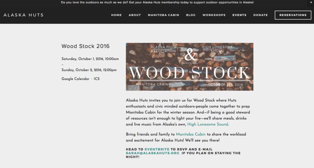Alaska Huts Assocation - Woodstock Event Page