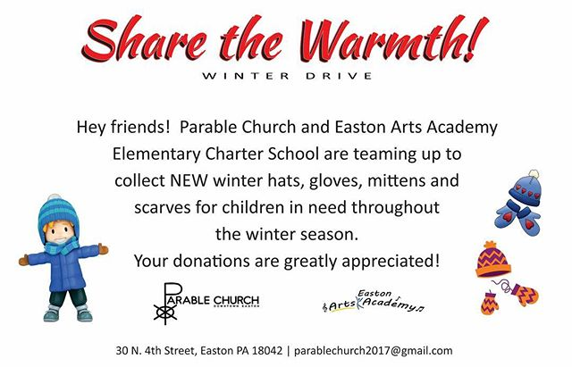 Hey friends!  It's that time of year again where we're collecting hats, gloves 🧤 mittens and scarves🧣 for children in need.  We have basket drop points @eastonpublicmkt just inside the sets of entrance doors (both front and rear,) and at the front desk of  @eastonyoga (care of @a.healthy.you ) As always we will have a basket here for donations as well!  A very special thank you to the downtown Easton businesses who are helping us this year and all of you for any contributions!  #parablechurch #paraballing #sharethewarmth #downtowneastonpa