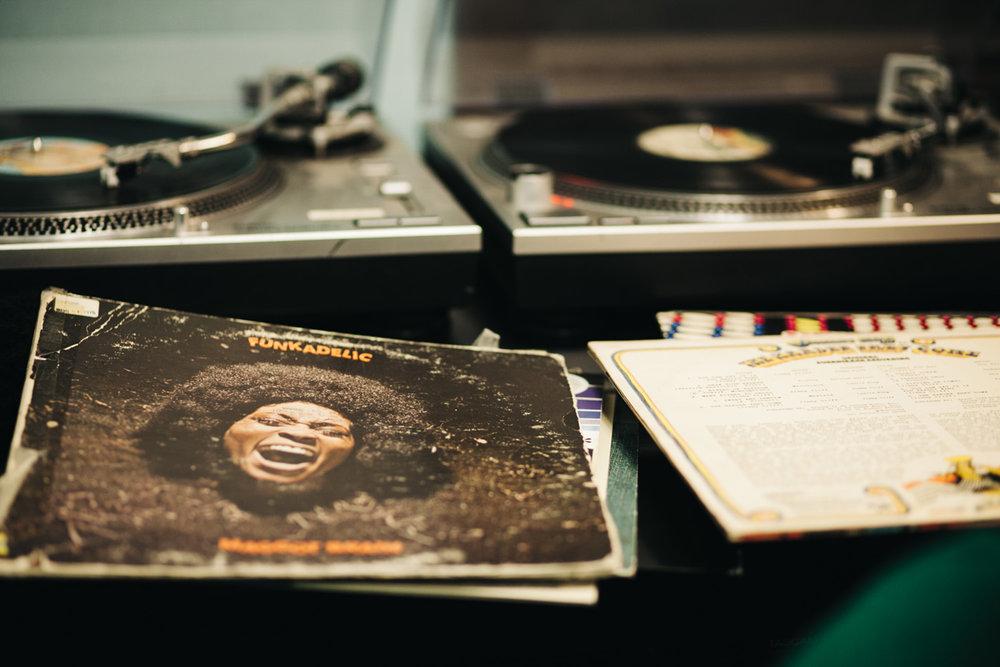 Radio DJ setup with vinyl records