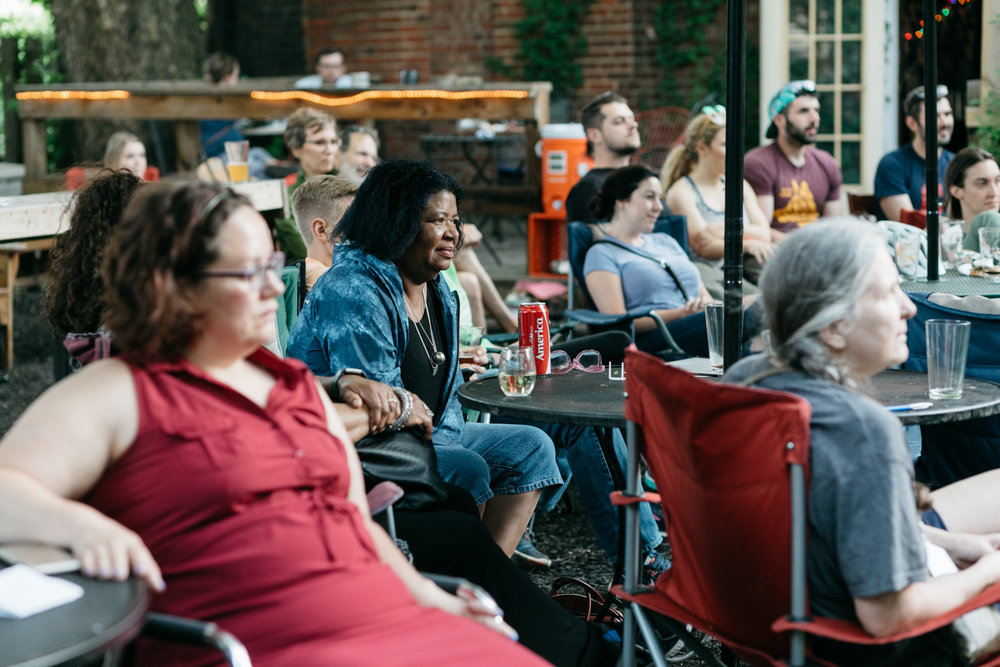 An audience enjoys hearing stories in Cleveland
