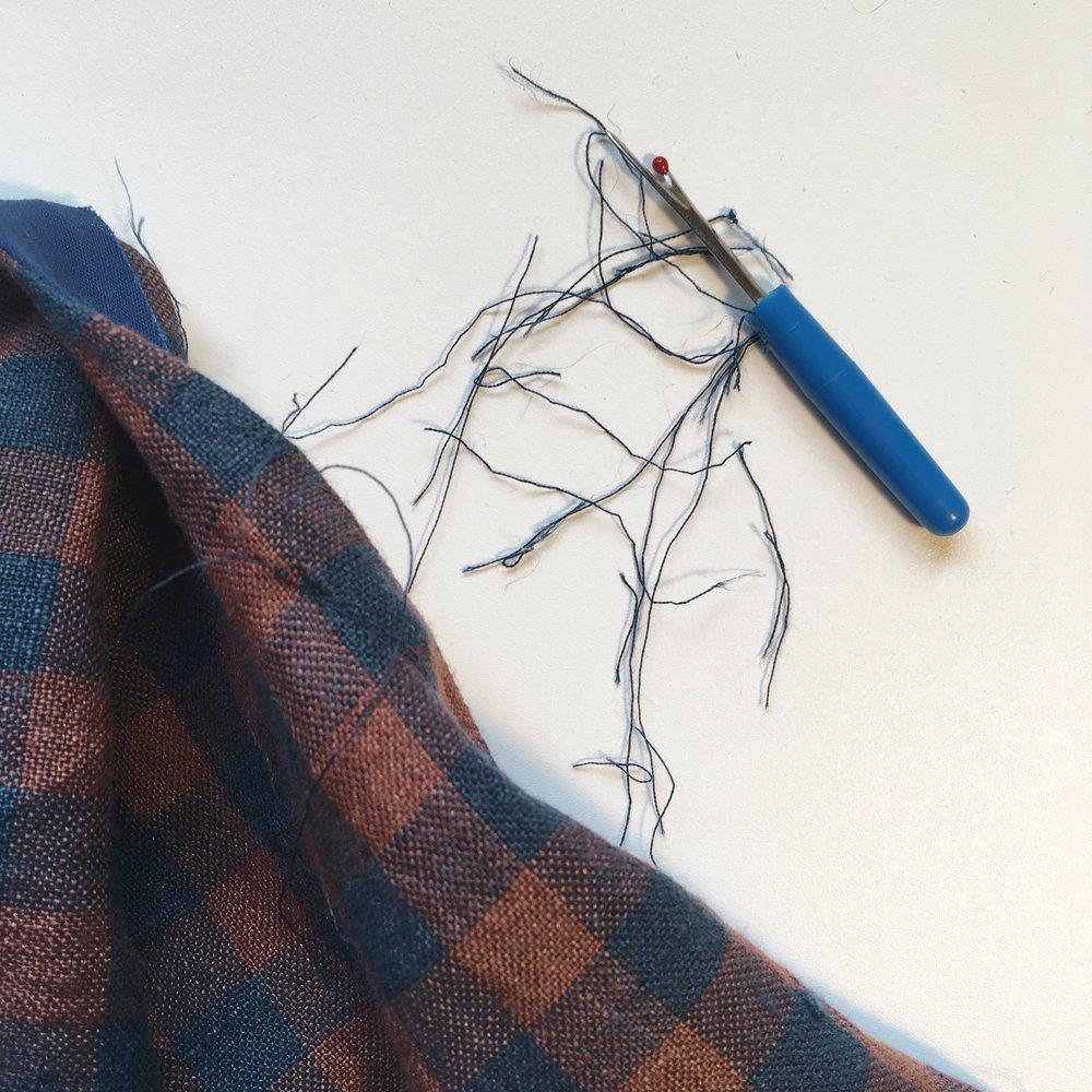 Tearing out a seam on a handmade shirt