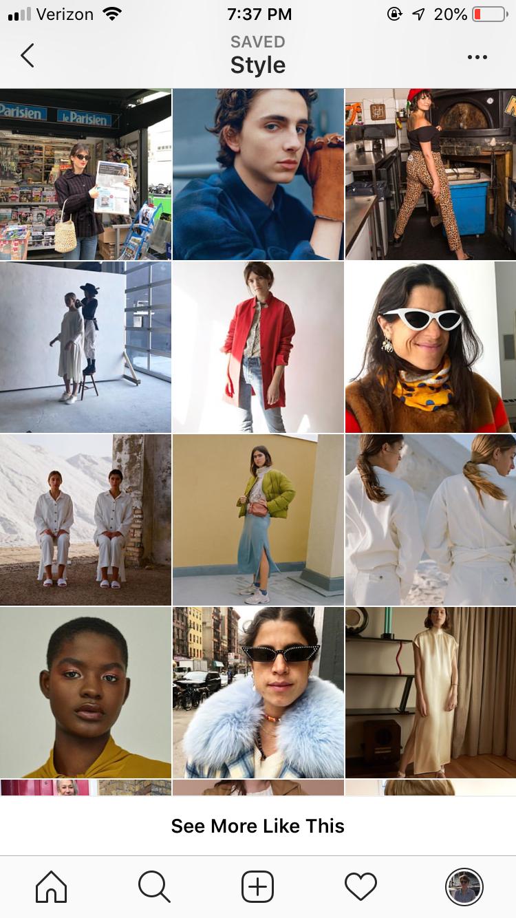 Screenshot of Pinterest fashion board