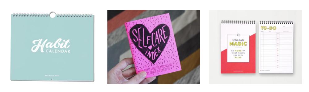 Free Period Press product thumbnails: Habit calendar, self-care index, and schedule magic
