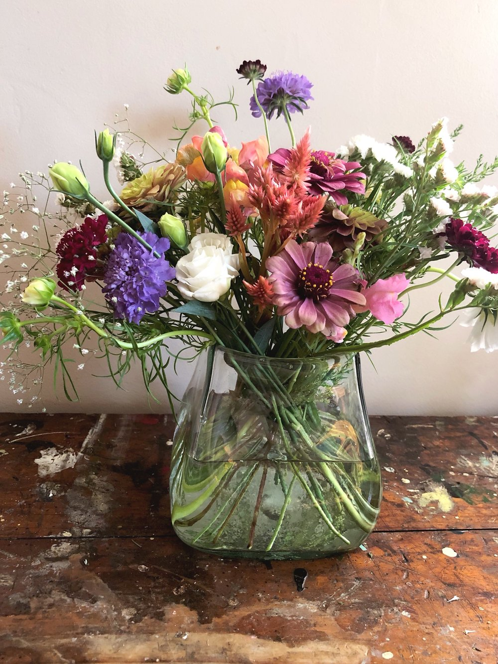 Megh's flowers artfully arranged in a vase -  Photography by Zac Bubnick