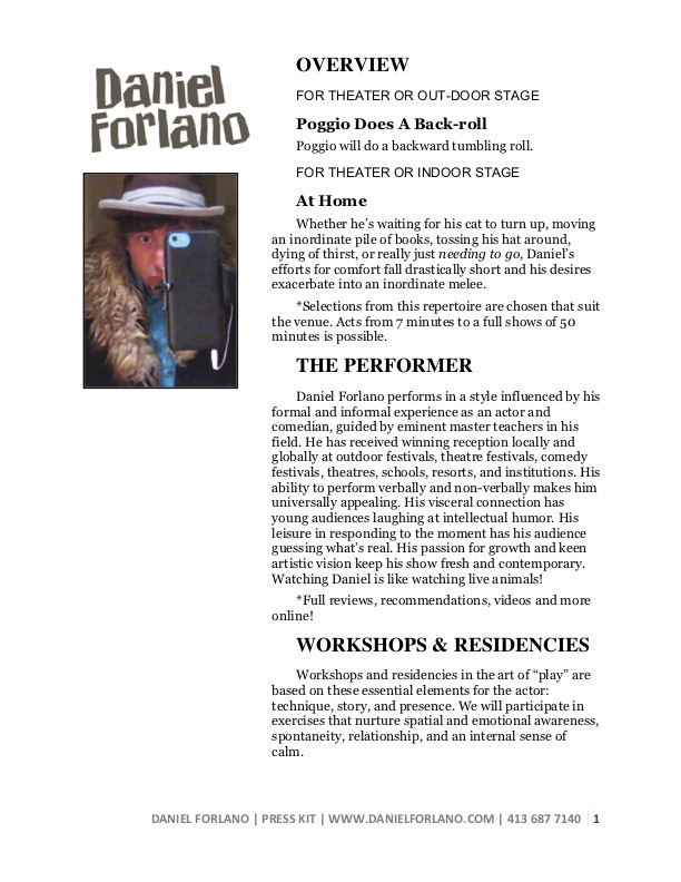 Press Kit   • Show descriptions • About the performer • Workshops • Testimonials • Biography