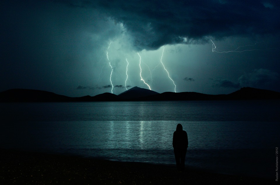 Lightning over lake