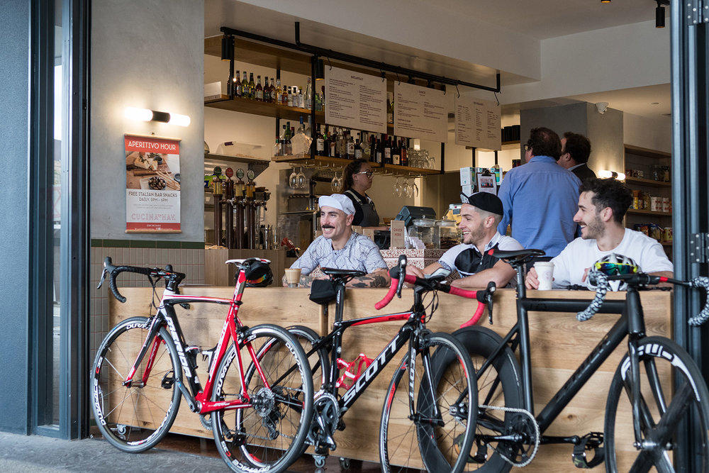 Perth cyclists enjoying coffee at Cucina on Hay