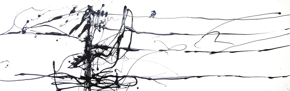 Birds on a Wire #2  Industrial Paint on Paper 87 x 28.5 cm