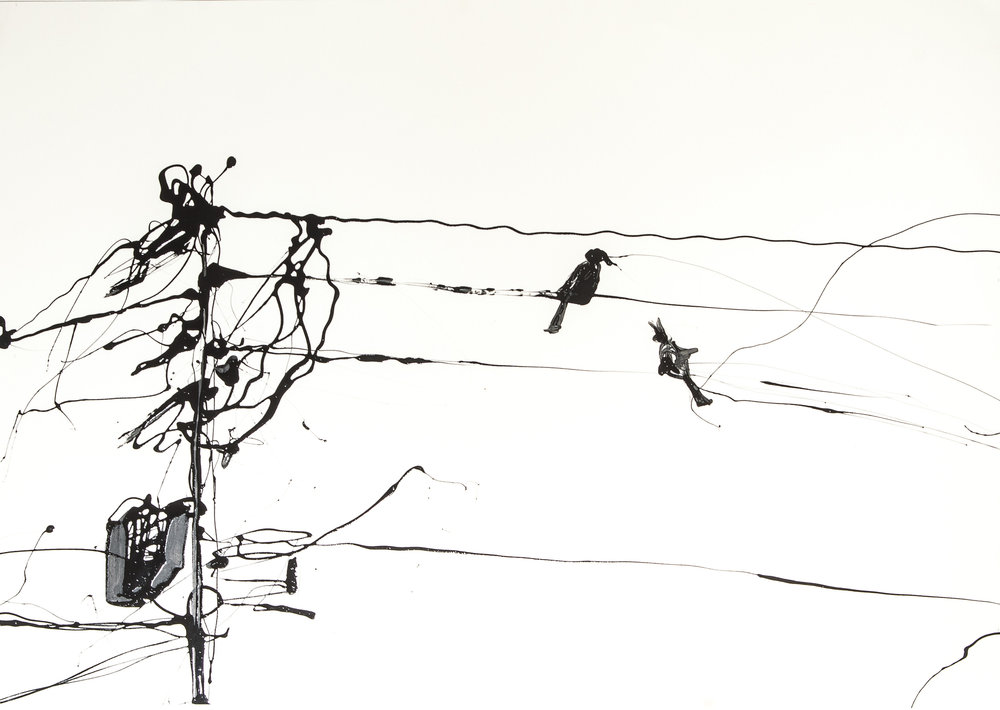 BIRDS ON A WIRE #1  Industrial Paint on Paper | 57 x 81 cm