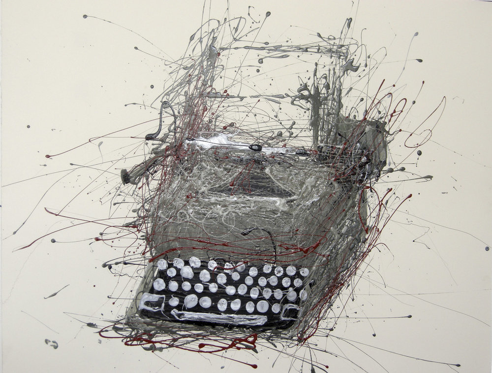 Typewriter c.1970  Industrial Paint on Paper 72cm x 57cm