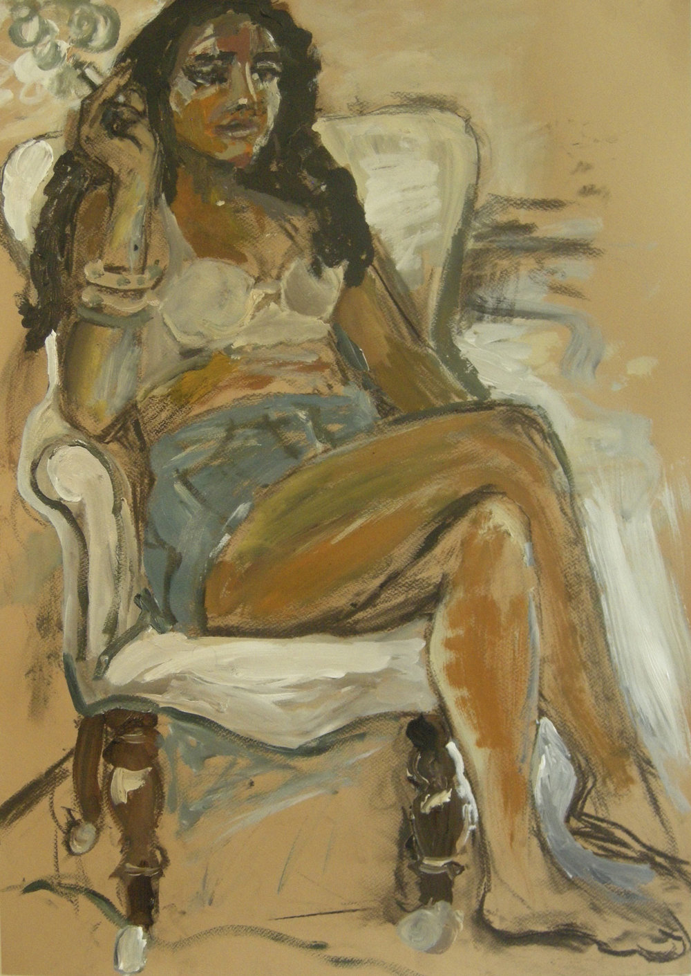 CONTEMPLATING (MAYAENI)  Mixed Media on Paper | 50 x 70 cm | 2013