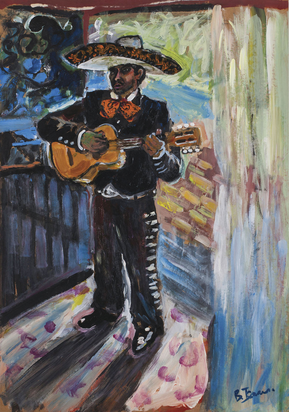 EL MARIACHI Acrylic on Card | 79 x 101 cm (framed) | 2010