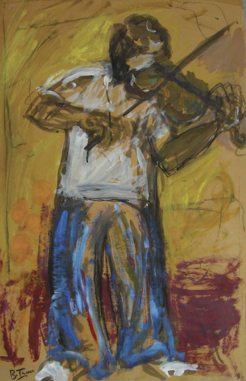 THE VIOLINIST Mixed Media on Card | 79 x 101 cm (framed) |2009 SOLD (Mexico)
