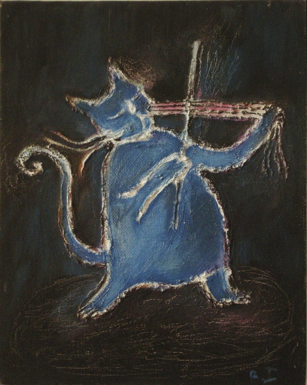 CAT VIOLIN (Blue) Oil on Canvass Board | 18 x 25.5 cm | 2010 Buy Framed £275.00
