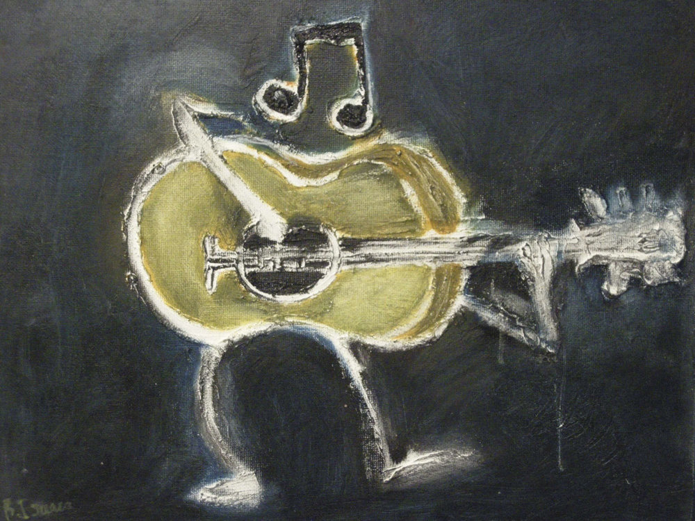 GUITARIST  Oil on Canvass Board | 36 x 25.5 cm | 2009  SOLD      (commissions taken)
