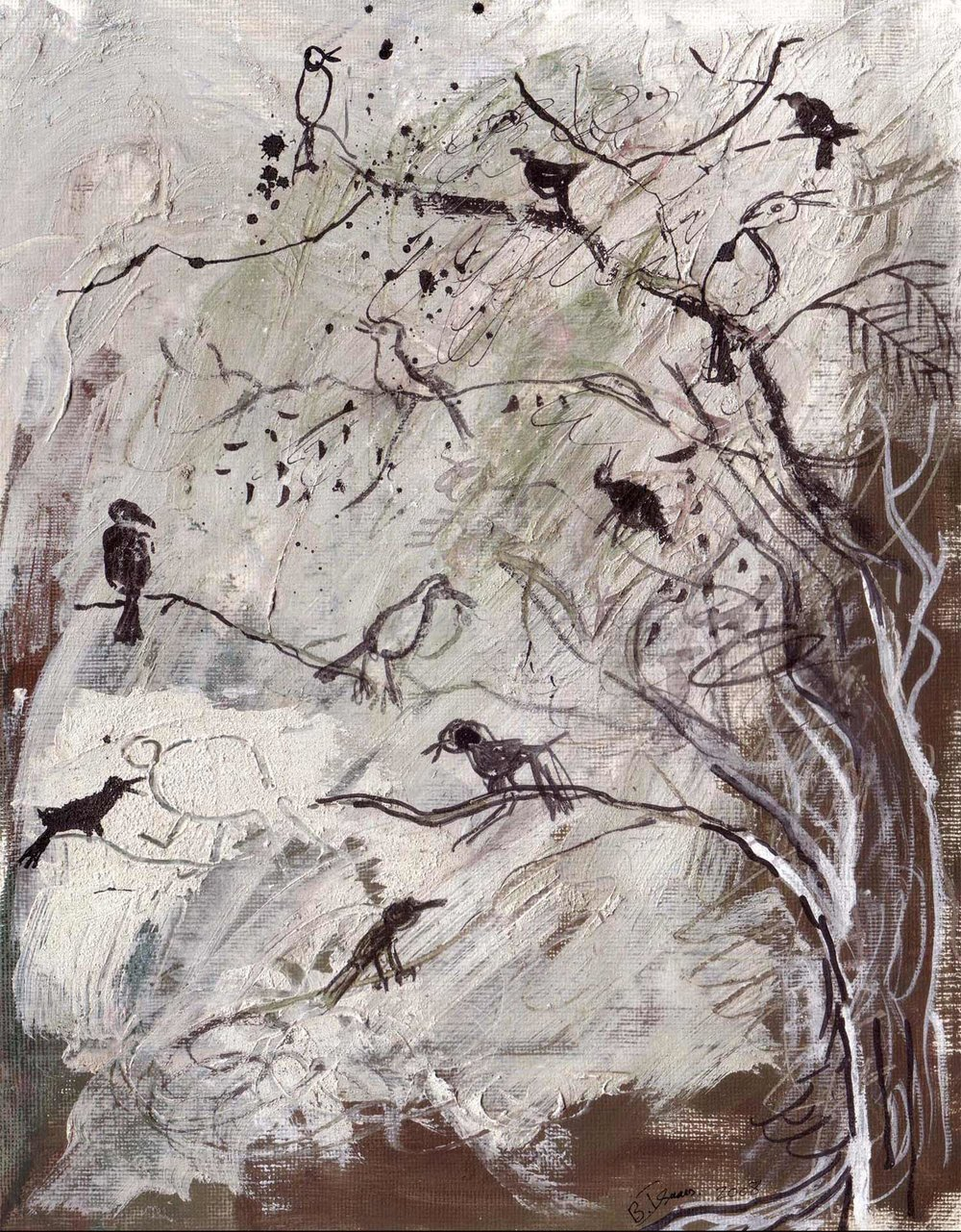 LOUD BIRDS Mixed Media on Paper | 25 X 32.5 CM |2008 SOLD