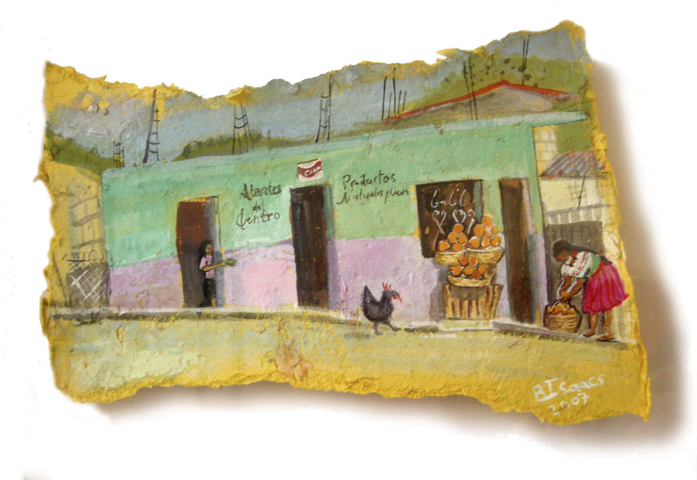 SELLING ORANGES  Gouache on handmade paper | 39.5 x 29.5 cm | 2007  Sold