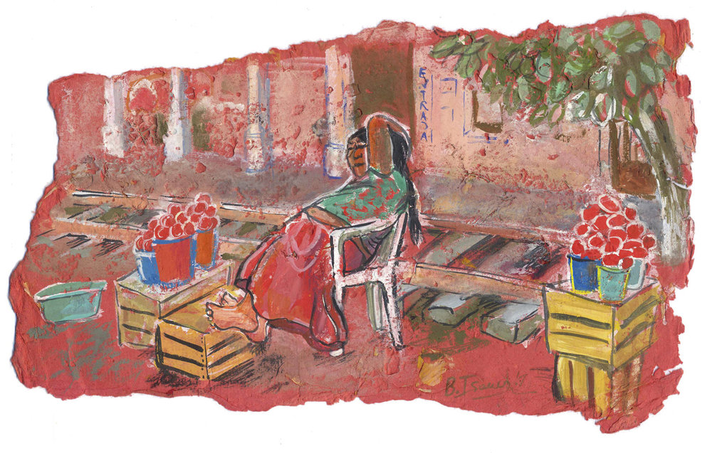 VIA TEHUANTAPEC Gouache on handmade paper | 36 x 20 cm | 2007 Sold