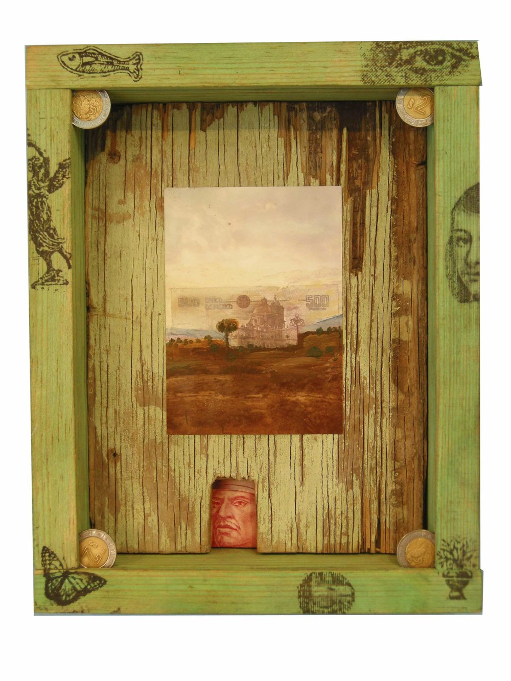 LANDSCAPE PAINTING  Collage and Money in Wooden Box 26 x 29 cm |2009  A comment on the value of land, and the value of art.    SOLD