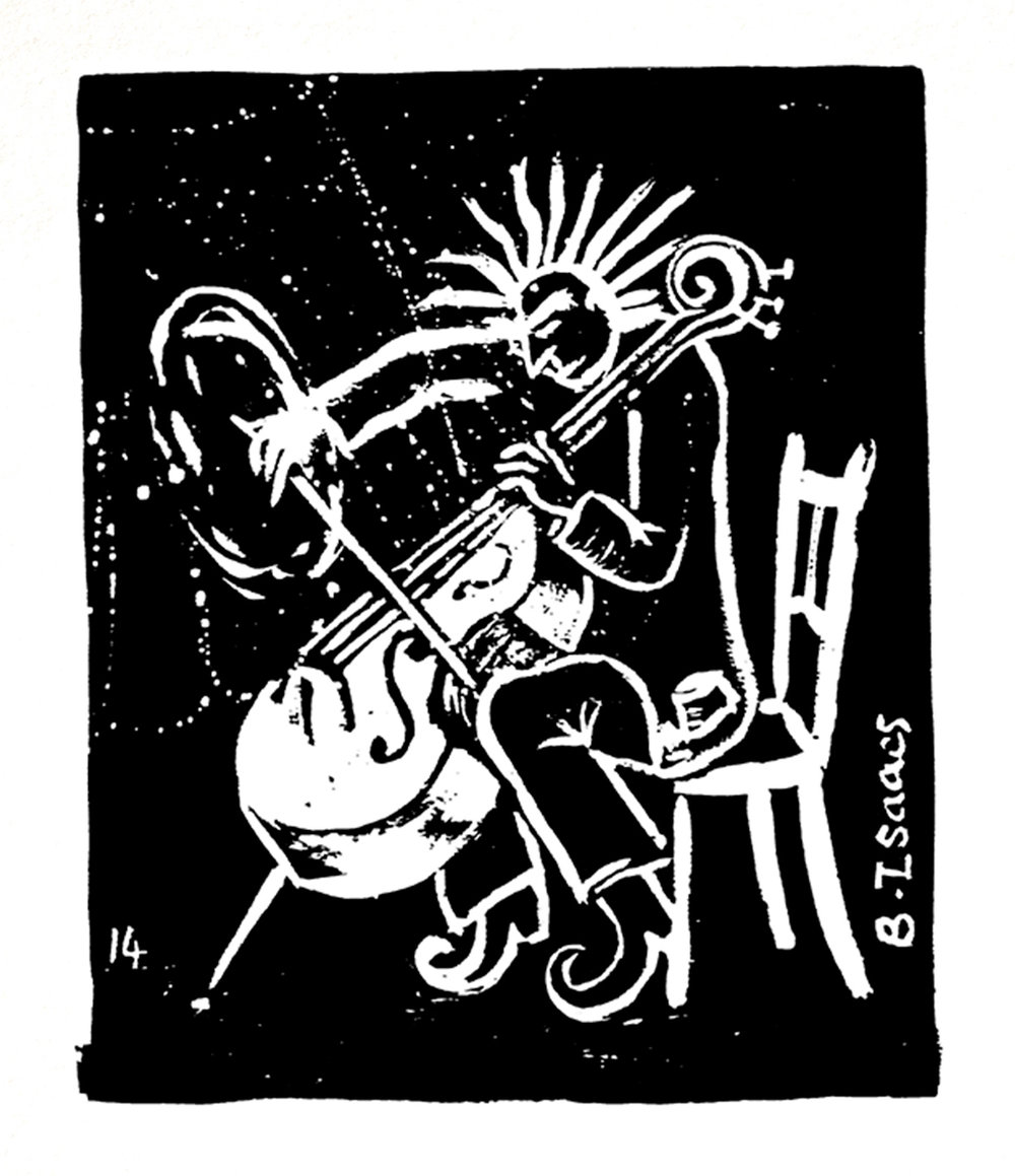 CRAZY CELLIST  Indian Ink on Watercolour paper | 38 x 31 xm (framed) | 2014