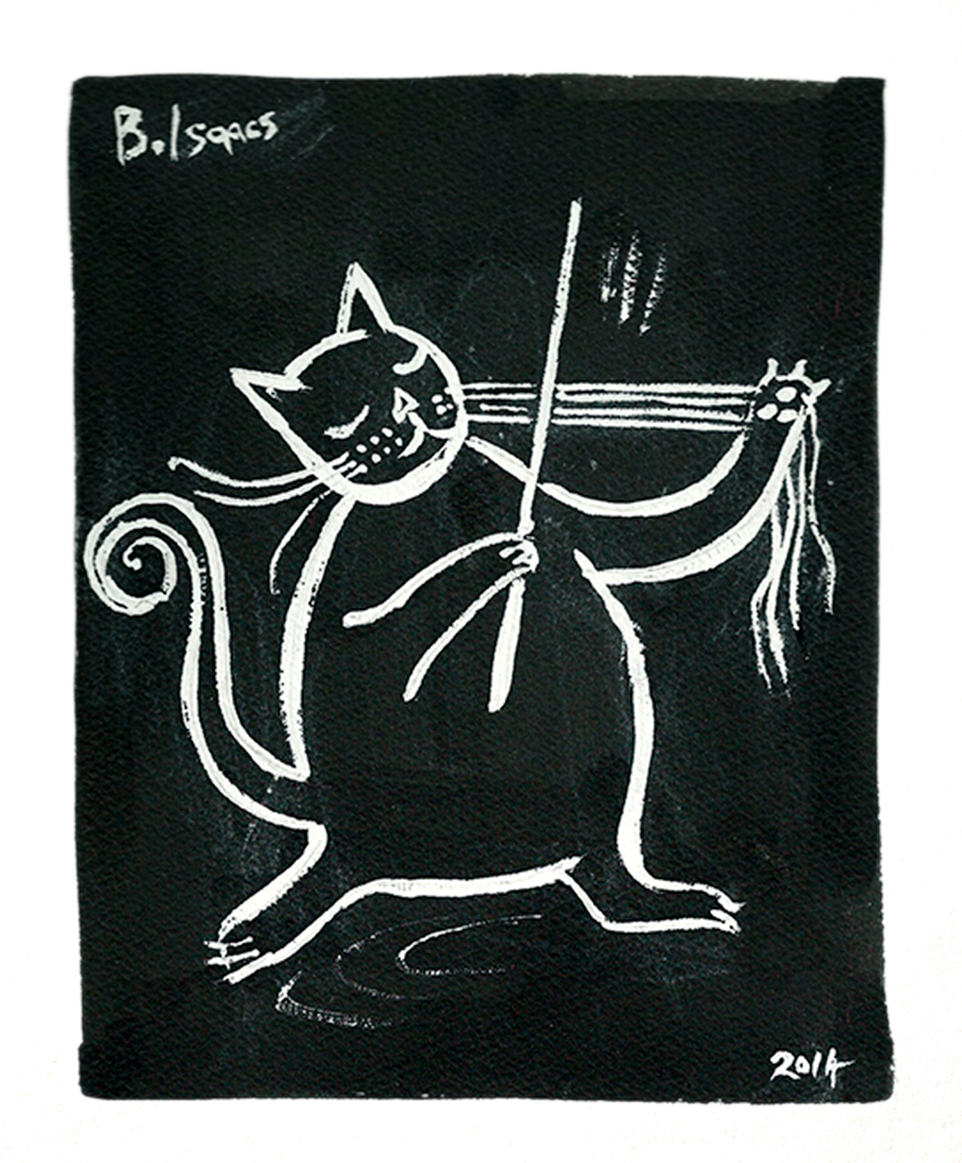 CAT VIOLIN Indian Ink on Watercolour paper |38 x 31 cm (framed) | 2014