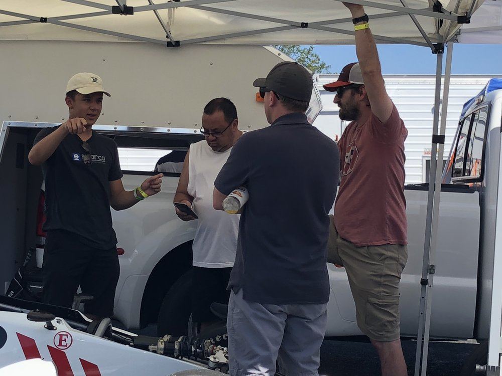 Nicky explains how he is so fast,while his dad Rich, Brad, and Doug Jr listen in.