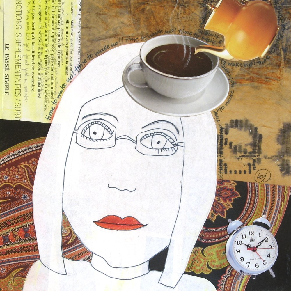 French Roast Please!  | mixed media collage | 8 x 8 | SOLD,  prints available