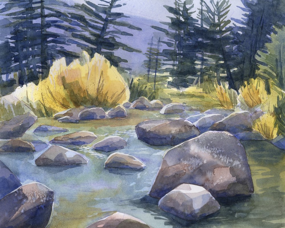 West Fork of the Carson River, Hope Valley  | watercolor | 8 x 10 | $150