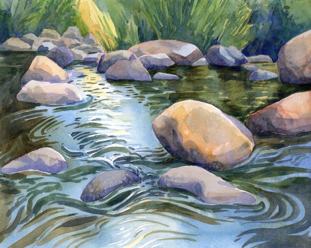 West Fork of the Carson River, Crystal Springs Road  | watercolor | 8 x 10 | $150