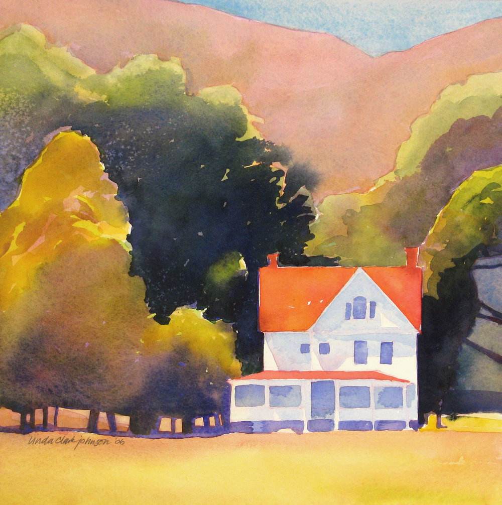 Lonesome Farmhouse  | watercolor | 14 x 14 | SOLD,  prints available