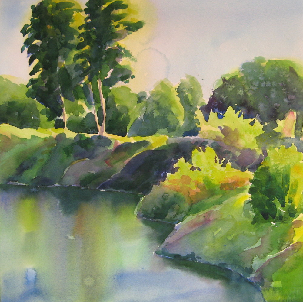 William Pond at Dusk  | watercolor | 14 x 14 | SOLD,  prints available
