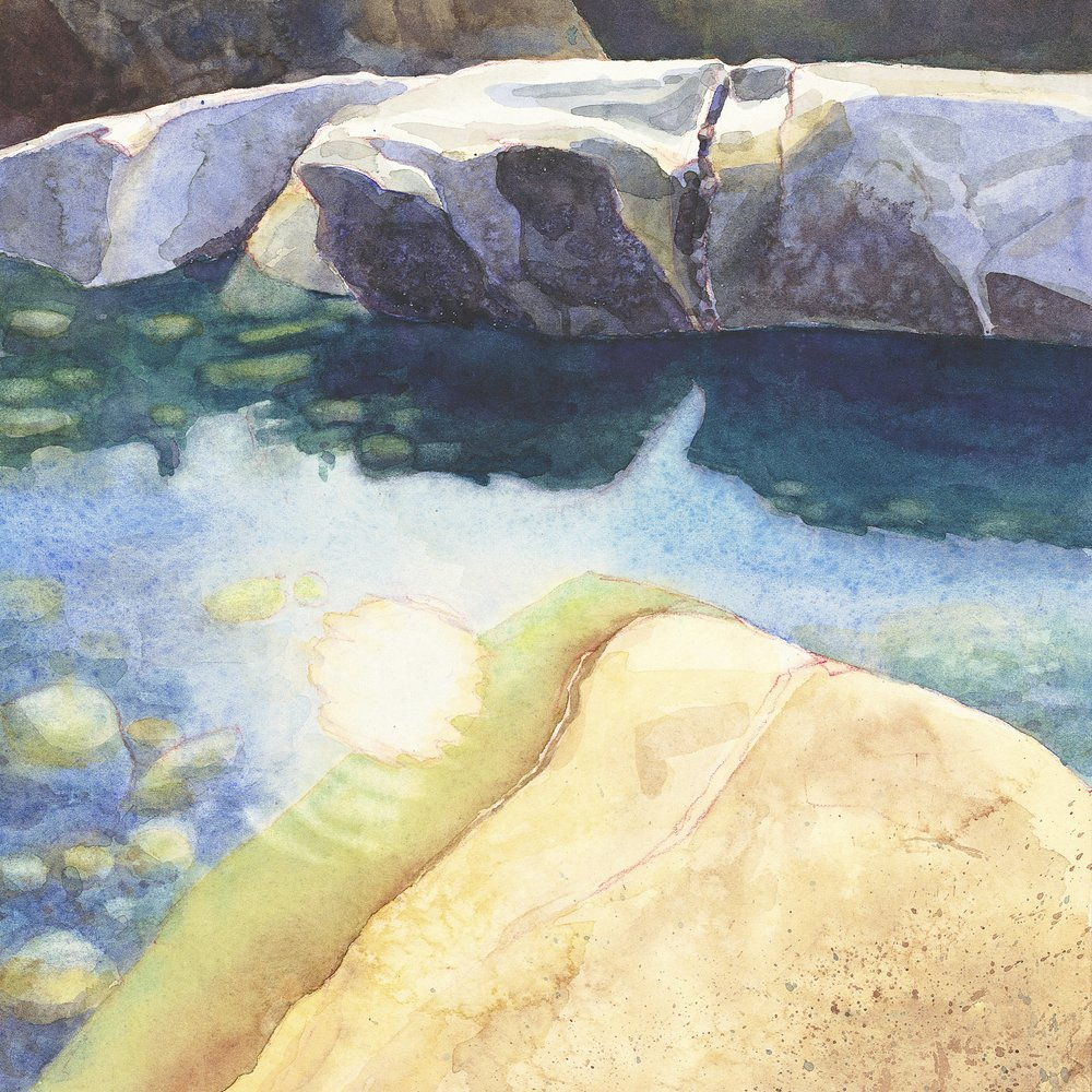Yuba River in Winter  | watercolor | 12.5 x 12.5 framed | $240