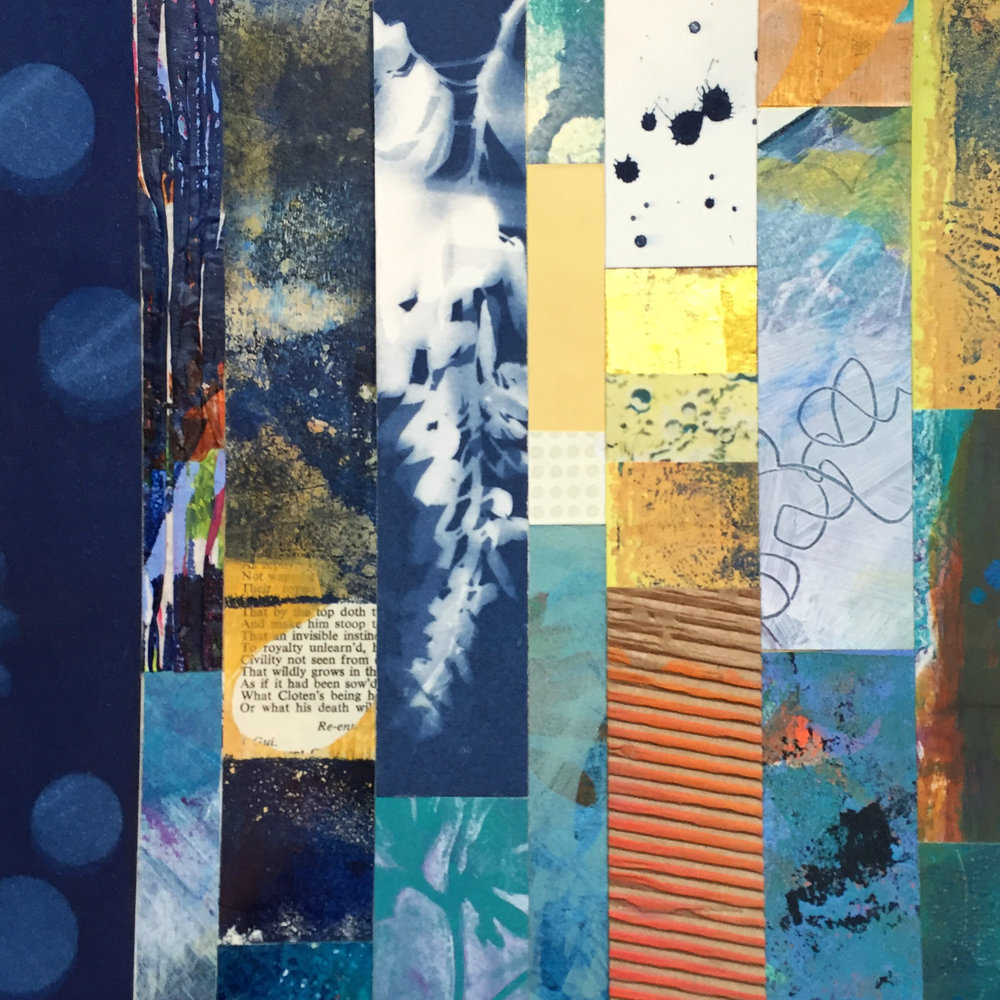 Paper Quilt in Indigo  | mixed media collage | 8 x 8 | SOLD