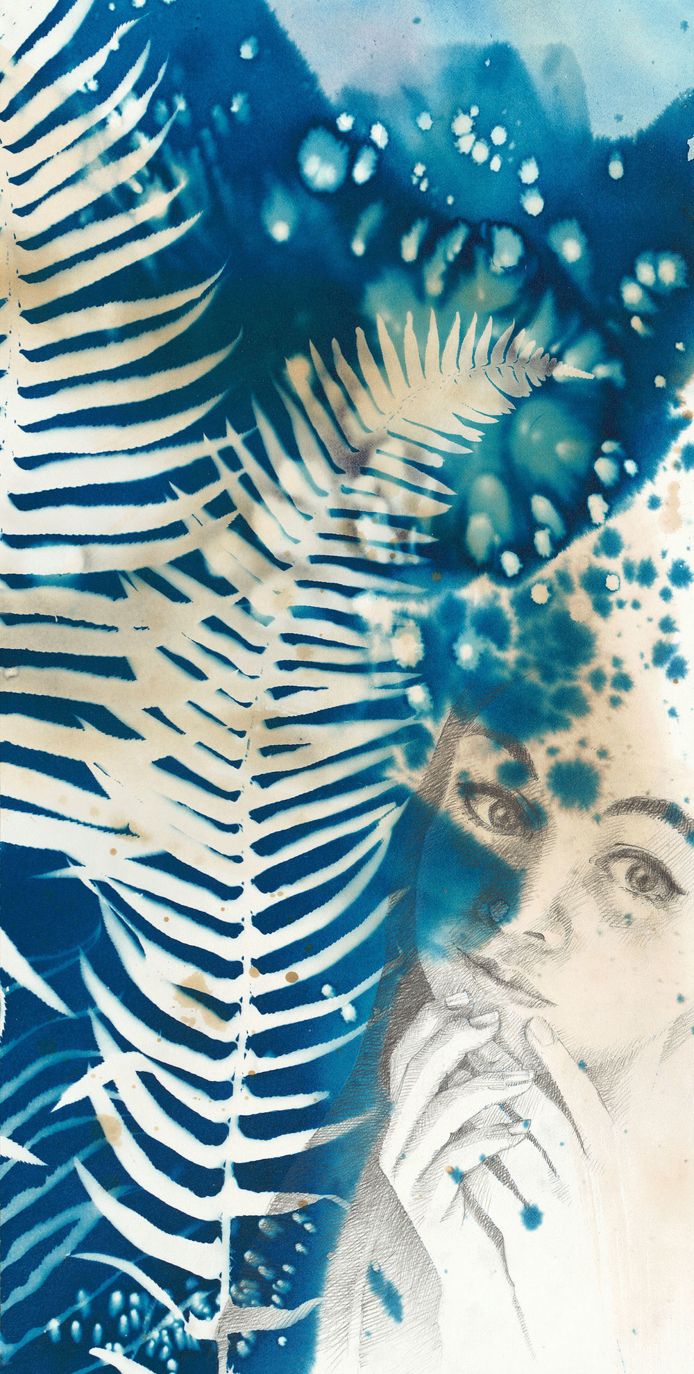 Wondering  | 10 x 20 | cyanotype, tea stain, watercolor, pencil | SOLD